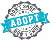 Adopt don't shop vintage turquoise seal isolated on white — Foto de Stock