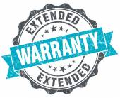 Extended warranty vintage turquoise seal isolated on white — Stock Photo