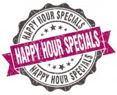 Happy hour specials grunge violet seal isolated on white — Stock Photo