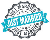 Just married vintage turquoise seal isolated on white — Stock Photo