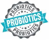 Probiotics vintage turquoise seal isolated on white — Zdjęcie stockowe