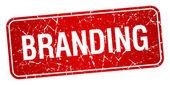Branding red square grunge textured isolated stamp — Stok Vektör
