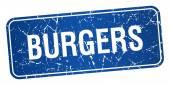 Hamburgery niebieski kwadrat tło teksturowane pieczęć na białym tle — Wektor stockowy
