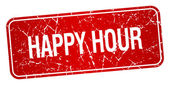 Happy hour red square grunge textured isolated stamp — Stock Vector