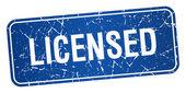 Sous licence grunge carré bleu texture timbre isolé — Vecteur