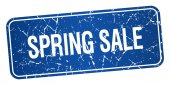 Spring sale blue square grunge textured isolated stamp — Stock Vector