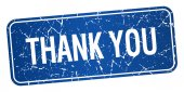 Thank you blue square grunge textured isolated stamp — Stockvektor