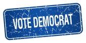 Vote democrat blue square grunge textured isolated stamp — Stock Vector