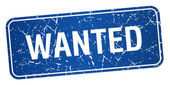 Wanted blue square grunge textured isolated stamp — Vector de stock