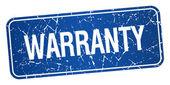 Garantie blauwe vierkante grunge getextureerde geïsoleerde stempel — Stockvector