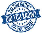 Saviez-vous que timbre ruban isolé bleu rétro grunge — Vecteur