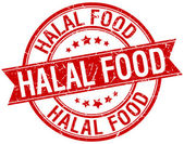 Halal food grunge retro red isolated ribbon stamp — Wektor stockowy
