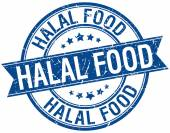 Halal food grunge retro blue isolated ribbon stamp — Vettoriale Stock