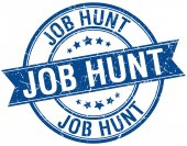 Job hunt grunge retro blue isolated ribbon stamp — Stock Vector