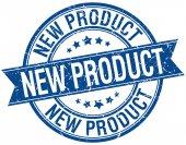 New product grunge retro blue isolated ribbon stamp — 图库矢量图片