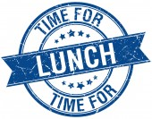 Time for lunch grunge retro blue isolated ribbon stamp — Stockvektor