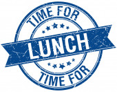 Time for lunch grunge retro blue isolated ribbon stamp — Wektor stockowy