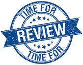 Tijd voor beoordeling grunge retro blauwe geïsoleerde lint stempel — Stockvector