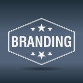 Branding hexagonal white vintage retro style label — Stockvektor