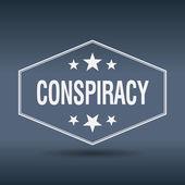 Conspiracy hexagonal white vintage retro style label — Stock Vector