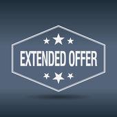 Extended offer hexagonal white vintage retro style label — Stock Vector