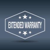 Extended warranty hexagonal white vintage retro style label — Stock Vector