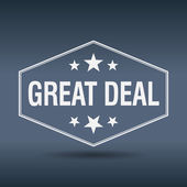 Great deal hexagonal white vintage retro style label — Stock Vector