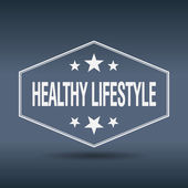 Healthy lifestyle hexagonal white vintage retro style label — Vettoriale Stock