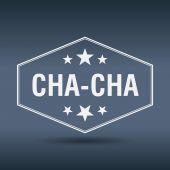 Cha-Cha sześciokątne biały styl retro vintage etykieta — Wektor stockowy