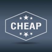 Cheap hexagonal white vintage retro style label — Stock Vector