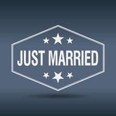 Just married hexagonal white vintage retro style label — Stockvektor