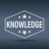 Knowledge hexagonal white vintage retro style label — Cтоковый вектор