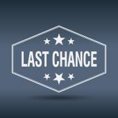 Last chance hexagonal white vintage retro style label — Stok Vektör