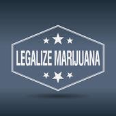 Legalize marijuana hexagonal white vintage retro style label — Stock vektor