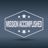 Mission accomplished hexagonal white vintage retro style label — Stock Vector