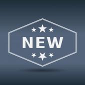 Nieuwe zeshoekige witte vintage retro stijl label — Stockvector