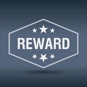 Reward hexagonal white vintage retro style label — Stock Vector