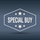 Special buy hexagonal white vintage retro style label — Stock Vector