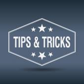 Tips & tricks hexagonal white vintage retro style label — Stock Vector