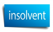 Insolvent blue paper sign on white background — Stock Vector
