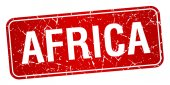 Africa red stamp isolated on white background — Wektor stockowy