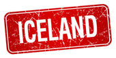 Iceland red stamp isolated on white background — Stock Vector