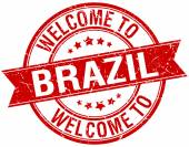 Welcome to Brazil red round ribbon stamp — Stock Vector