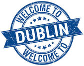 Welcome to Dublin blue round ribbon stamp — Stock Vector
