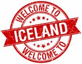 Welcome to Iceland red round ribbon stamp — Stock Vector