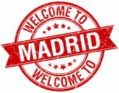 Welcome to Madrid red round ribbon stamp — Stok Vektör