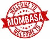 Welcome to Mombasa red round ribbon stamp — Stockvektor