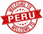 welcome to Peru red round ribbon stamp