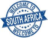 Bienvenue sur timbre bleu rond ruban Afrique du Sud — Vecteur