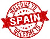 Welcome to Spain red round ribbon stamp — Wektor stockowy
